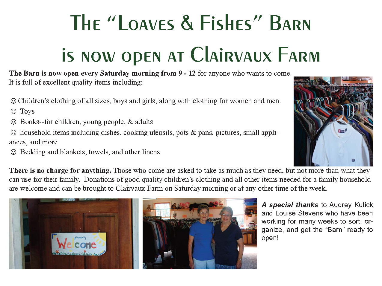 """""""Loaves & Fishes Barn"""" now open at Clairvaux Farm – Deep Roots"""